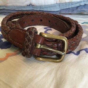 Genuine Leather Three Braided Woven Brown Belt